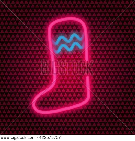 Christmas Stocking. Shining Neon Icon. Colored Vector Illustration. Isolated Background. A Boot For