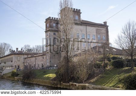 Robecco Sul Naviglio ( Mi ), Italy - April 01, 2021: Robecco Sul Naviglio Villa Gaia And Palazzo Arc