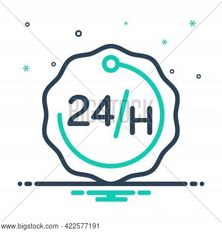 Mix Icon For 24 Hours Accessibility Emergency Exigency Service Efficacy
