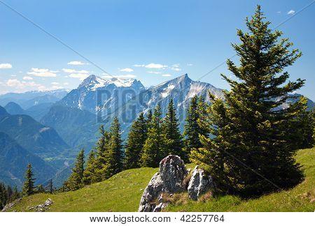 blue mountains - view from Kaltmauer to blue mounts -Hhochschwab Alpen - Austria