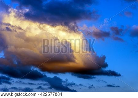Beautiful Sunset Evening Orange, Yellow And Dark Murky Clouds.sunset Evening Cloud,golden Cloud.nice