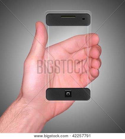 Transparent Mobile Smart Phone In Man's Hand New Digital Technology Concept