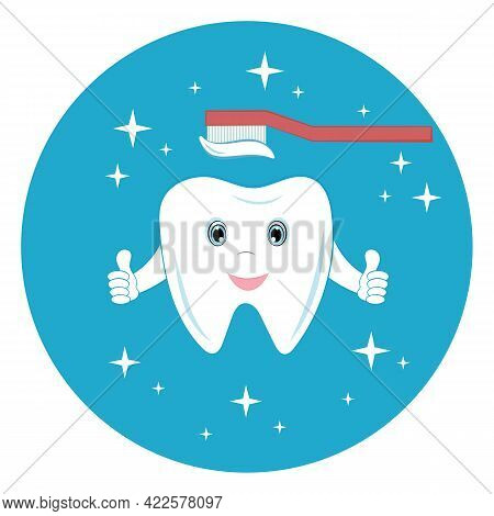 Healthy Tooth And Toothbrush With Paste. Teeth Cleaning. Picture With A Tooth For Dentistry. The Cor
