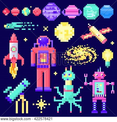 Set Of Space Stars, Alien Spaceman, Robot Rocket And Satellite Cubes Solar System Planets Pixel Art,