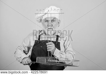 Cooking With Passion. Cooking Utensils For Barbecue. He Prefer Grill Food. Picnic And Barbecue. Kitc