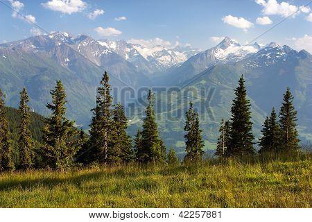 view from Kitzbuheler Alpen to Hohe Tauern with GrossGlockner, Kitzsteinhorn and Gross Wiesbachhorn