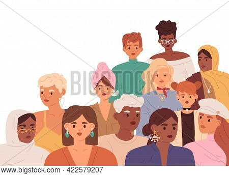 Woman Community Of Diverse Women Of Different Age, Race, Nationality, And Skin Color. International