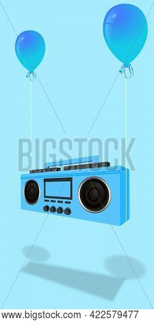 Modern Stylish Music Receiver. Blue Boombox, Audio And Music. Retro Old Realistic 3d Object. Vintage