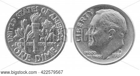 Obverse And Reverse Of 1981 One Dime Coppernickel Us Coin Isolated On White Background