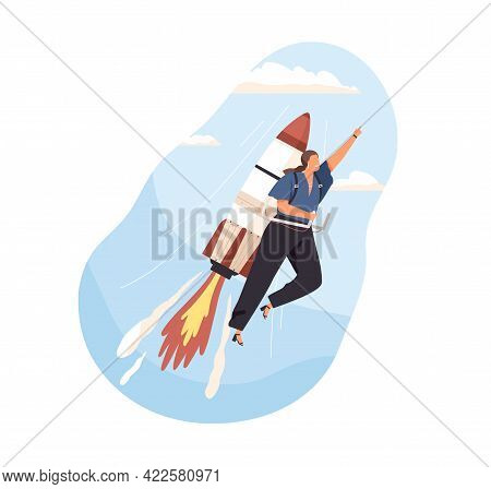 Successful Woman Launching Business Startup, Flying On Rocket With High Speed. Development, Growth,