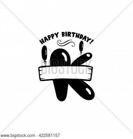 Initial Birthday K Letter. Happy Birthday Monogram Design With Balloons. Alphabet K Template. Stock