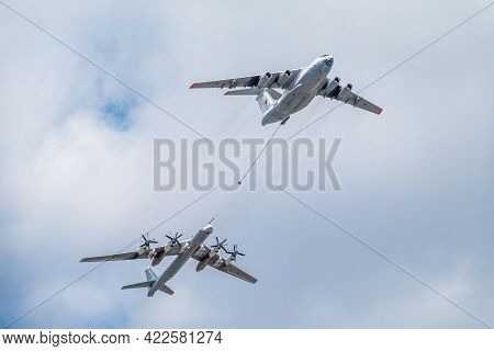 Moscow, Russia - May, 05, 2021: The Group Of Strategic Bomber Of Long-range Aviation Tu-95ms And Fly