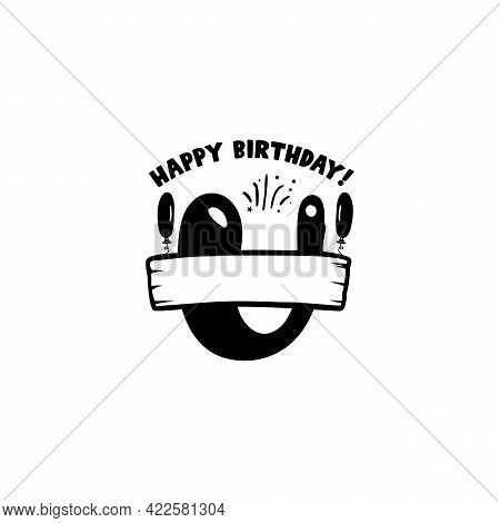 Initial Birthday U Letter. Happy Birthday Monogram Design With Balloons. Alphabet U Template. Stock
