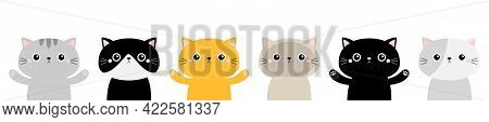Kawaii Cat Face Head Icon Set Line. Kitten Silhouette. Different Breeds. Cute Funny Cartoon Baby Cha
