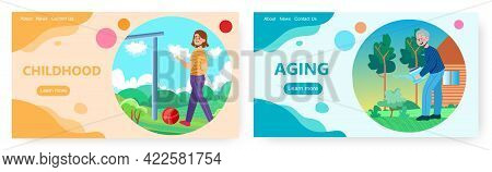 Aging Landing Page Design, Website Banner Vector Template. Child Growing, Becoming Old. Childhood, A