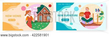 New Home Landing Page Design, Website Banner Vector Template Set. Happy People Enjoying New House An