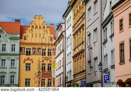 Narrow Picturesque Street With Colorful Renaissance And Baroque Historical Buildings In Center Of Pl
