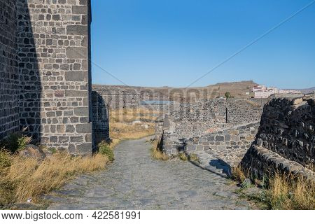 Main Road Inside Medieval Kars Castle, Leading To Its Citadel. Buildings Around Are Remains Of Soldi