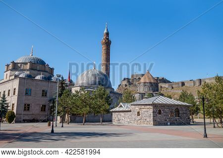 Empty Square Near Complex Of Ancient Religious Buildings In Kars, Turkey. Nearest Building Is Evliya