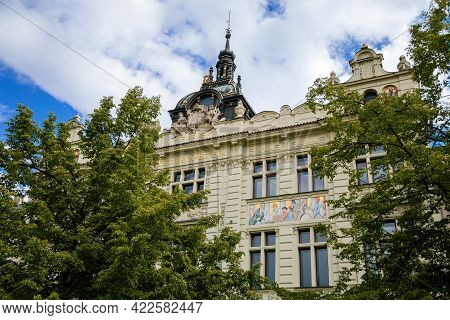 Neo-renaissance Building Of The Mestanska Beseda Theater And Restaurant In The Center Of Plzen In Su