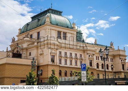 The Historical Building Of The J.k. Tyl Theatre In Plzen. House Built In The Neo-renaissance Archite