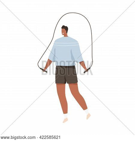 Happy Man Jumping With Jump Or Skipping Rope. Healthy Active Person Doing Cardio Exercises, Training