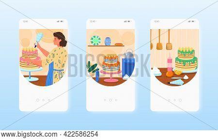 Confectioner Baker Cooking Birthday Cake. Mobile App Screens, Vector Website Banner Template. Ui, We