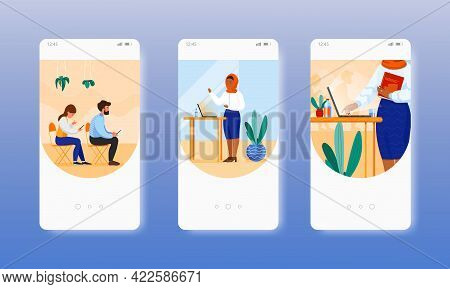 Business Lecturer. Online Education. Webinar. Mobile App Screens, Vector Website Banner Template. Ui