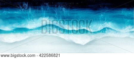 Seascape Painting. Ocean Waves,blue,azure,turquoise Water,white Sea Foam And Light Beige Sand. Top V