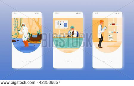Lab Water Testing, Quality, Purity Analysis. Mobile App Screens, Vector Website Banner Template. Ui,