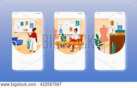 Atelier Owner. Fashion Designer. Sewing Workshop. Mobile App Screen, Vector Website Banner Template.