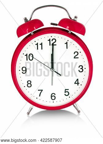 Red Alarm Clock On A White Background. A Wake White Dial