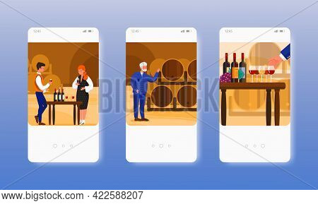 Wine Tasting. Grape Alcohol Drink Degustation. Mobile App Screens, Vector Website Banner Template. U