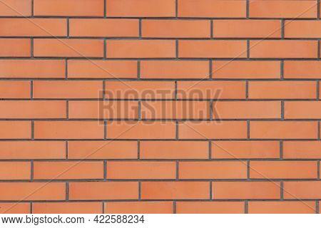 New Masonry Of Red Italian Facing Brick. Background Image