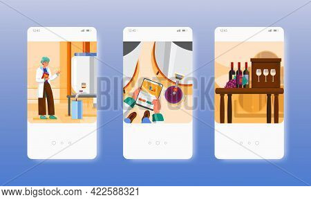 Winery Grape Wine Production Winemaking Factory. Mobile App Screens, Vector Website Banner Template.
