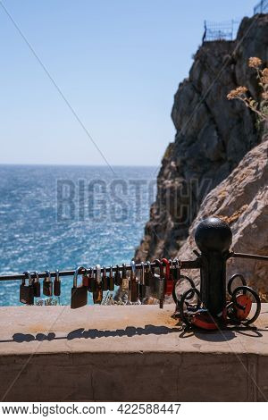 Wedding Traditional Lock Key In A Popular Place In Crimea, Yalta, Mountains Black Sea, View From Yal