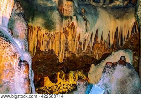 Mineral Stone Formations On The Surfaces Of Damlatas Cave (alanya, Turkey), Close-up. Natural Abstra