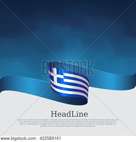 Greece Flag Background. Greece Flag With Wavy Ribbon On A Blue White Background. National Greek Post