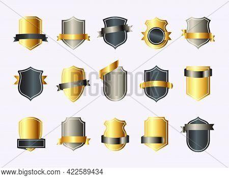 Shield Blank Gold Emblems. Heraldic Shields, Security Black Labels. Knight Award, Medieval Royal Vin