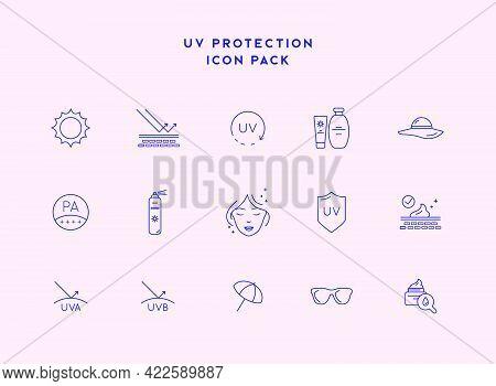 Skin Care Line Icons. Sunscreen, Uv Defence Vector Thin Line Icons. Sunscreen, Suntan Rules Linear I