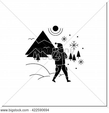 Friluftsliv Glyph Icon. Hiking. Snowy Weather. Man Walking. Mountain Winter Landscape.nordic Outdoor