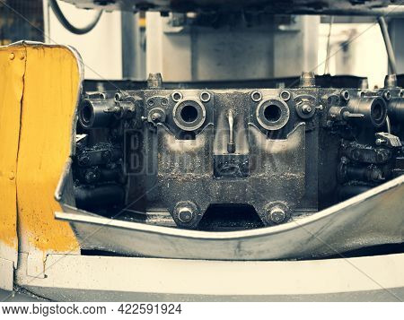 Detail Of Upright Drilling Machine Resembling Robot Face, Close Up