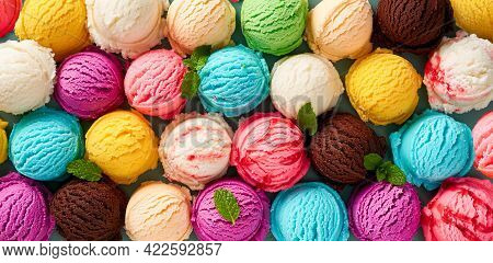 Assorted Of Scoops Ice Cream. Colorful Set Of Ice Cream Of Different Flavours. Top View Of Ice Cream