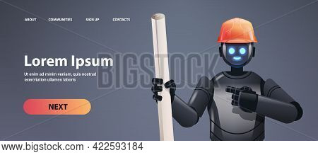 Robot Foreman Engineer In Hardhat Holding Drawings Robotic Architect With Blueprints Artificial Inte