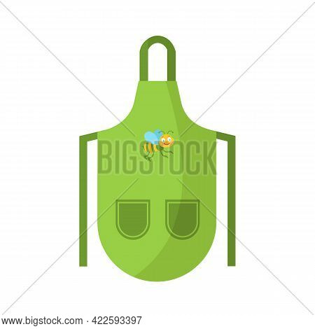 Bright Green Kitchen Apron With Drawstrings With Two Pockets And Beautiful Bee Pattern. Pinafore For