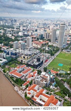 SINGAPORE, FEBRUARY 12 - Aerial view of Singapore city skyline with the old city hall and Ancient Asian Civilisation museum by the river on Feb 12, 2013 in Singapore.