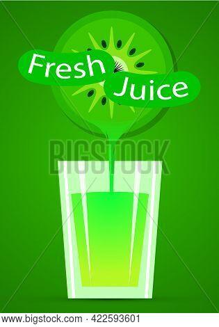 A Glass Of Fresh Kiwi, Vector Art Illustration.
