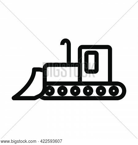 Icon Of Construction Bulldozer. Editable Bold Outline Design. Vector Illustration.
