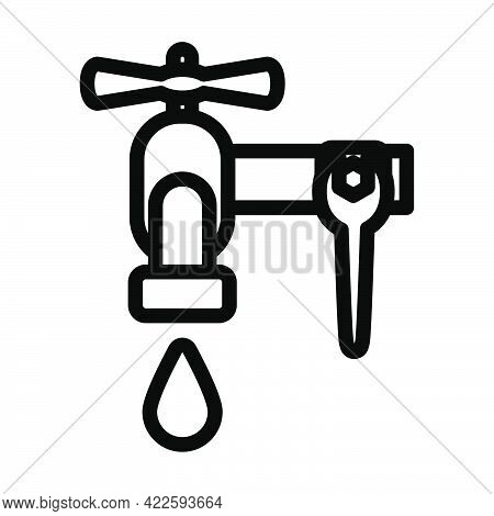 Icon Of Wrench And Faucet. Editable Bold Outline Design. Vector Illustration.