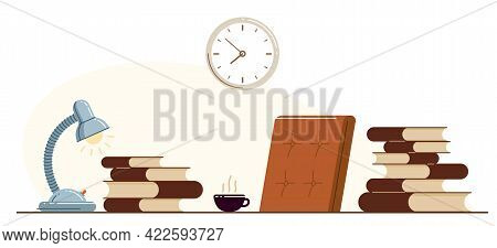 Library Theme Self-education Vector Concept Flat Illustration Isolated Over White, Empty Chair For I